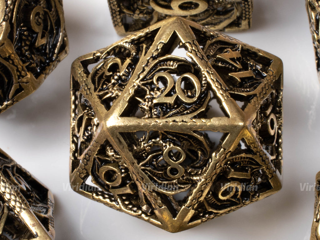 Bronze Hollow Dragon | Oversized Metal Dice Set (7) | Dungeons and Dragons (DnD) | Tabletop RPG Gaming