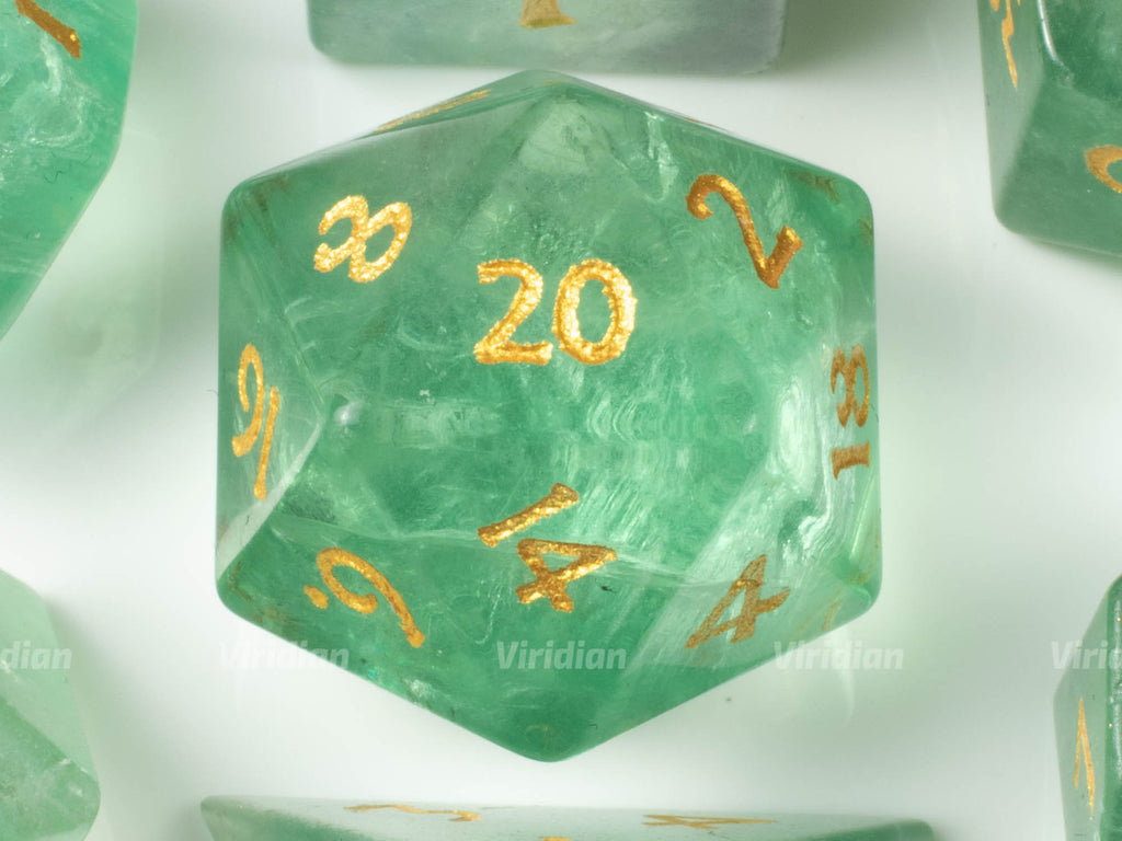Green Fluorite | Real Gemstone Dice Set (7) | Dungeons and Dragons (DnD) | Tabletop RPG Gaming