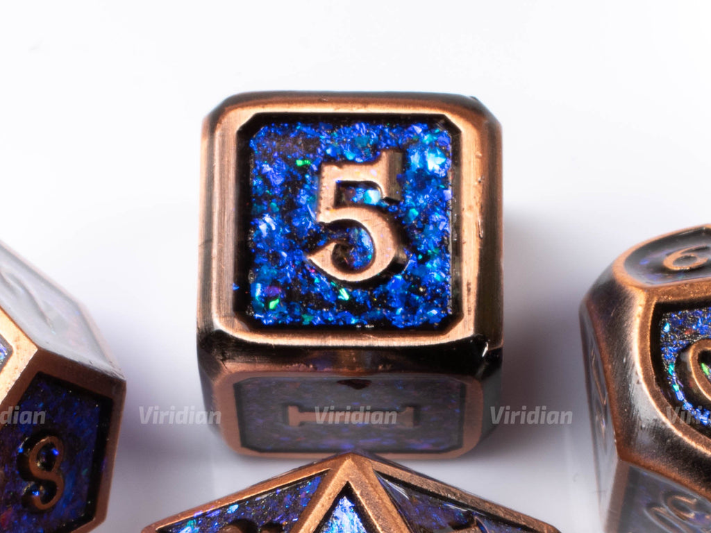 Copper Sparkle | Purple & Blue Iridescent Sequined Metal Dice Set (7) | Dungeons and Dragons (DnD)