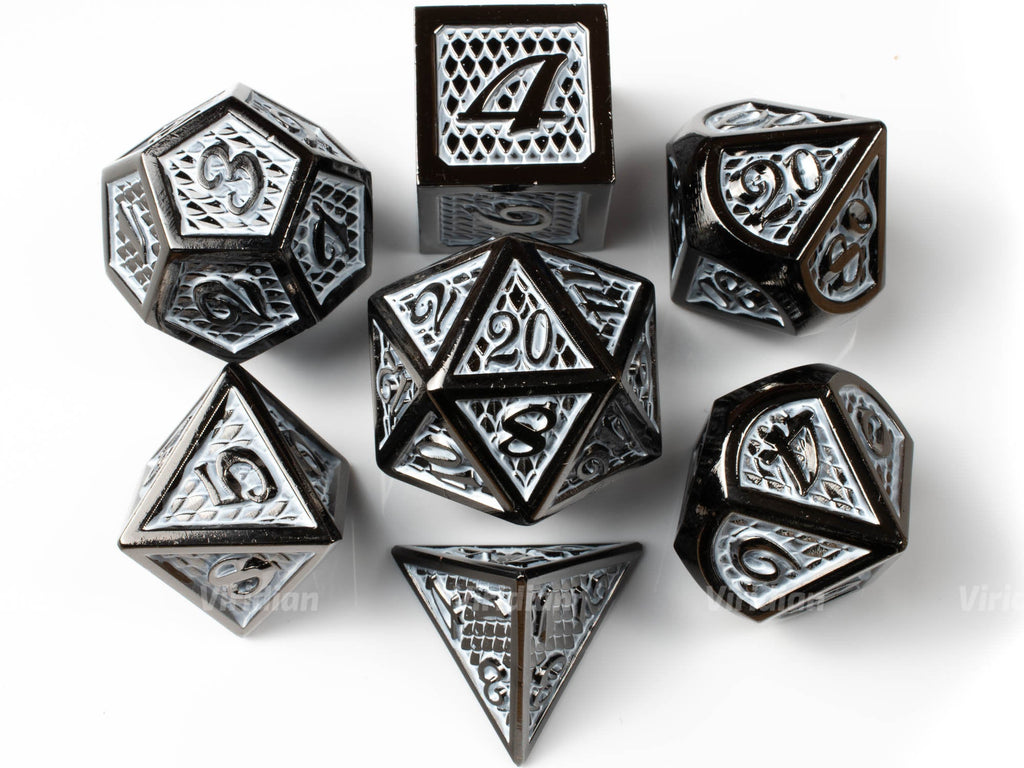 Armor of Agathys | White Scales Large Metal Dice Set (7) | Dungeons and Dragons (DnD) | Tabletop RPG Gaming