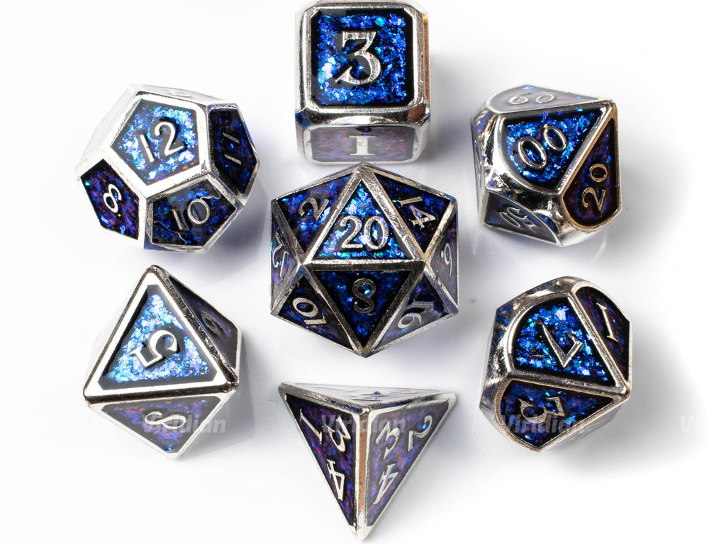 Blue and Silver | Sequined Mica Metal Dice Set (7) | Dungeons and Dragons (DnD)