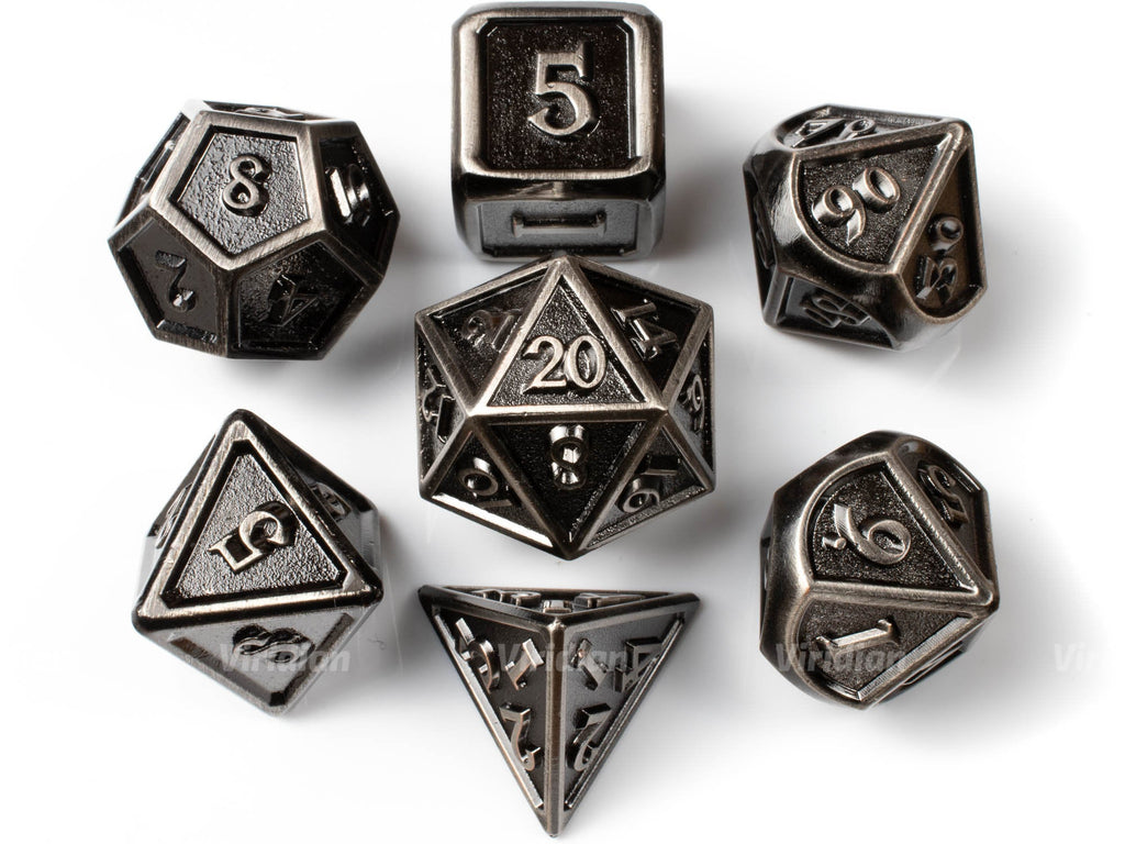 Hammered Armor | Silver & Matte Stylized Metal Dice Set (7) | Dungeons and Dragons (DnD)