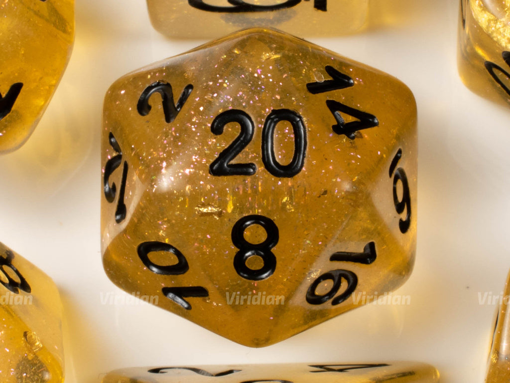 Honey Calcite | Brown-Gold Leaf Glittery Resin Dice Set (7) | Dungeons and Dragons (DnD)
