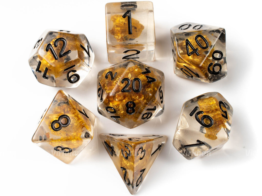 Gold Ore | Brown Stone Inside Clear Resin Dice Set (7) | Dungeons and Dragons (DnD)