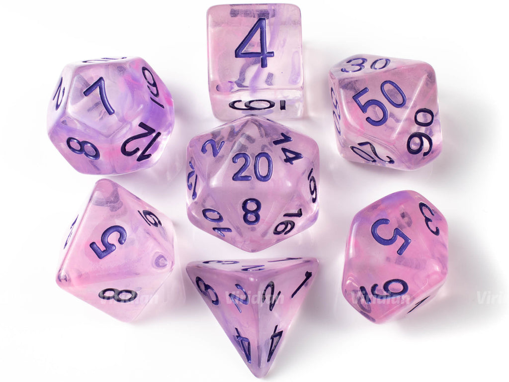 Charm Person | Purple Swirled Resin Dice Set (7) | Dungeons and Dragons (DnD)