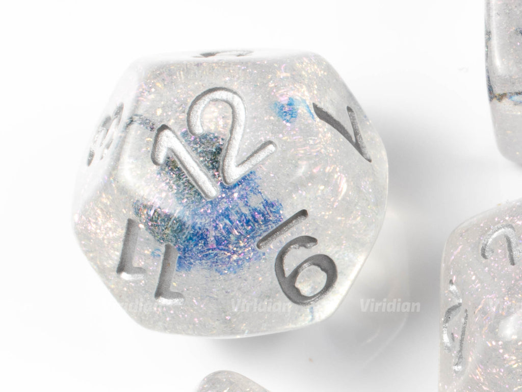 Flash Freeze | Blue Flower Inside Glittery Resin Dice Set (7) | Dungeons and Dragons (DnD)