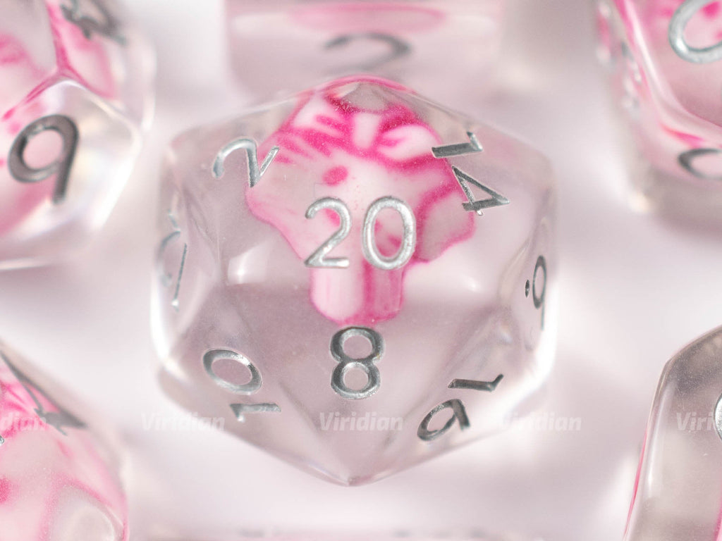 Pink Cat | Charm Inside Clear Resin Dice Set (7) | Dungeons and Dragons (DnD)