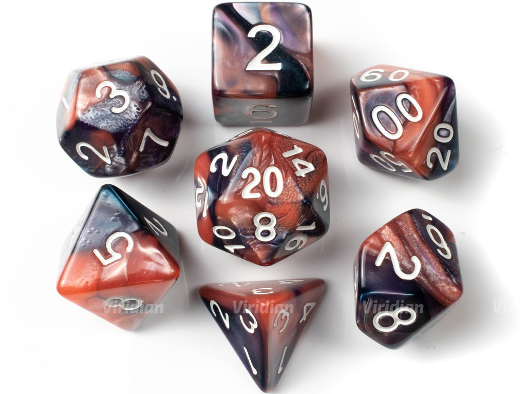 Double Bubble | Pink and Purple Swirled Acrylic Dice Set (7) | Dungeons and Dragons (DnD)