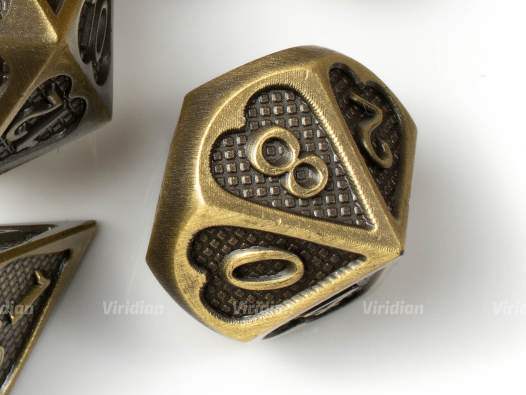 Bronze Heart | Textured Design Metal Dice Set (7) | Dungeons and Dragons (DnD) | Tabletop RPG Gaming