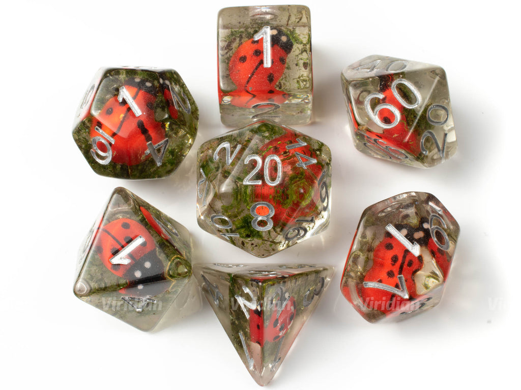 Ladybird | Ladybug and Moss Inside Clear Resin Dice Set (7) | Dungeons and Dragons (DnD)