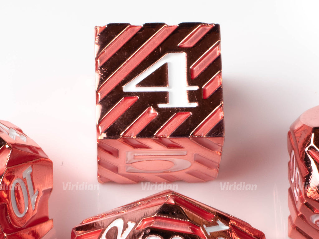 Berry Stripes | Red & Pink Metal Dice Set (7) | Dungeons and Dragons (DnD) | Tabletop RPG Gaming