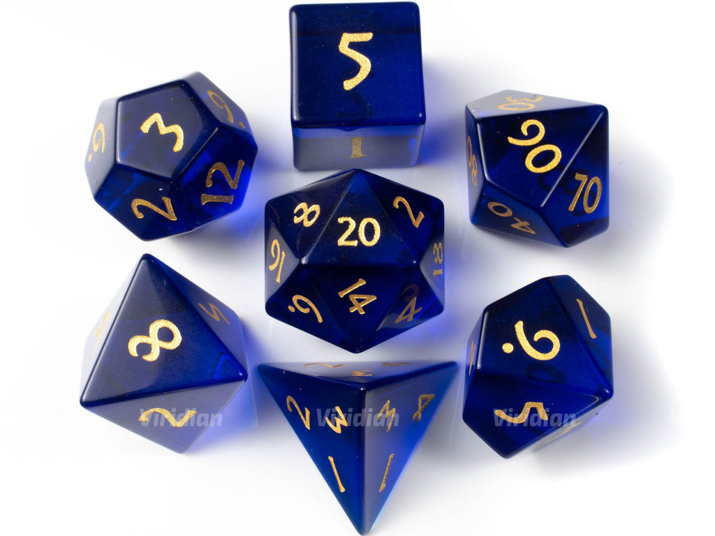 Royal Blue Glass | Real Gemstone Dice Set (7) | Dungeons and Dragons (DnD) | Tabletop RPG Gaming