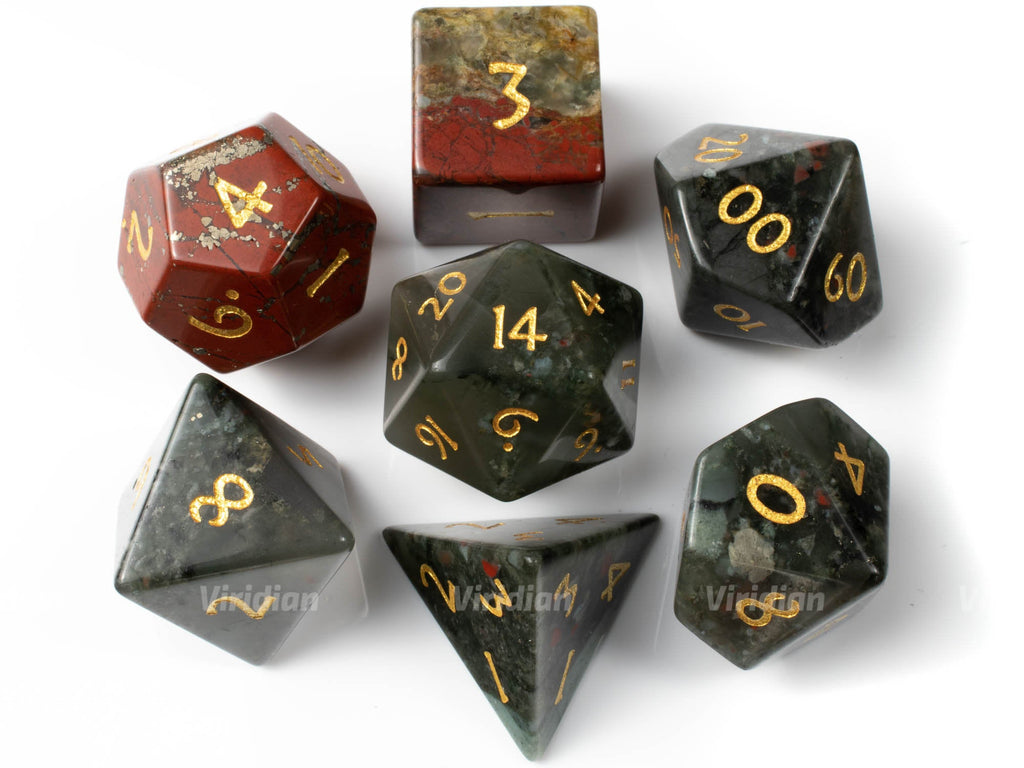 Blood Stone | Real Gemstone Dice Set (7) | Dungeons and Dragons (DnD) | Tabletop RPG Gaming