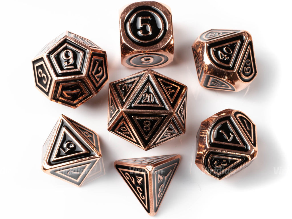 Armor of Darkness | Black Enamel, Copper, Metal Dice Set (7) | Dungeons and Dragons (DnD) | Tabletop RPG Gaming