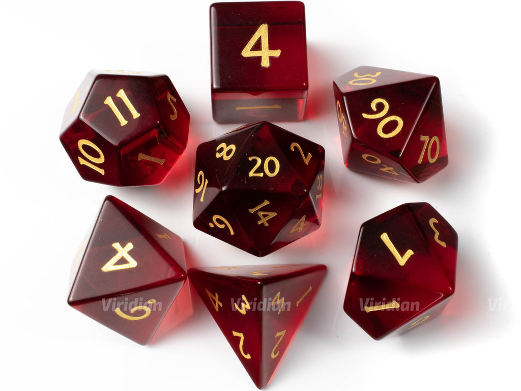 Red Glass | Real Gemstone Dice Set (7) | Dungeons and Dragons (DnD) | Tabletop RPG Gaming