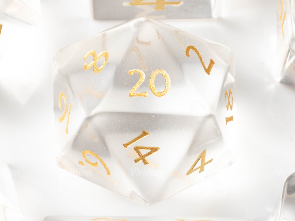Transparent Glass | Real Gemstone Dice Set (7) | Dungeons and Dragons (DnD) | Tabletop RPG Gaming