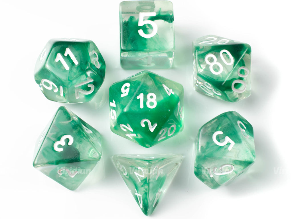 Abundant Growth | Green & Clear Dice Set (7) | Dungeons and Dragons (DnD)
