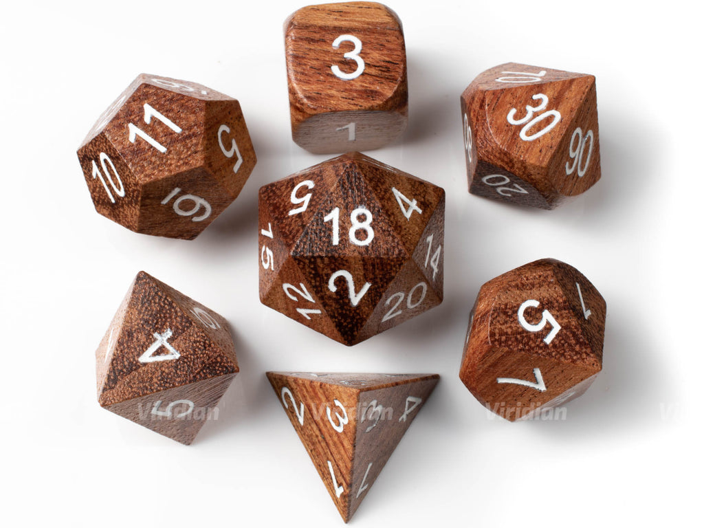 Red Sandalwood | Wood Dice Set (7) | Dungeons and Dragons (DnD)
