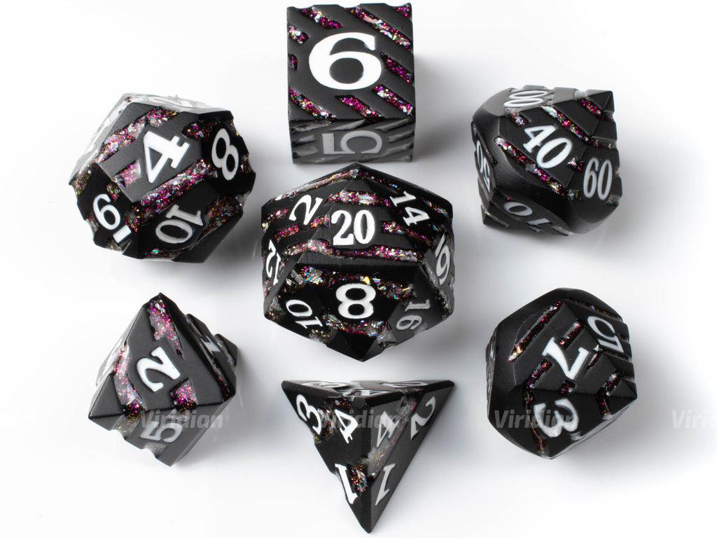 Fairy Stripes | Black Metal Pink Mica Glitter Dice Set (7) | Dungeons and Dragons (DnD) | Tabletop RPG Gaming