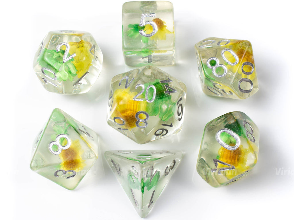 Sunflower Fields | Resin Dice Set (7) | Dungeons and Dragons (DnD)