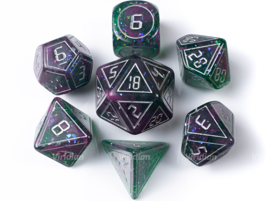 Planetary | Green and Pink, Glittery Digital Font Resin Dice Set (7) | Dungeons and Dragons (DnD)