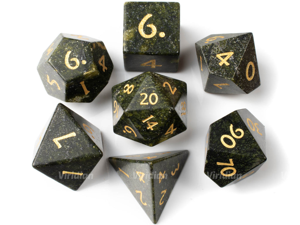 Algae Stone | Real Gemstone Dice Set (7) | Dungeons and Dragons (DnD) | Tabletop RPG Gaming