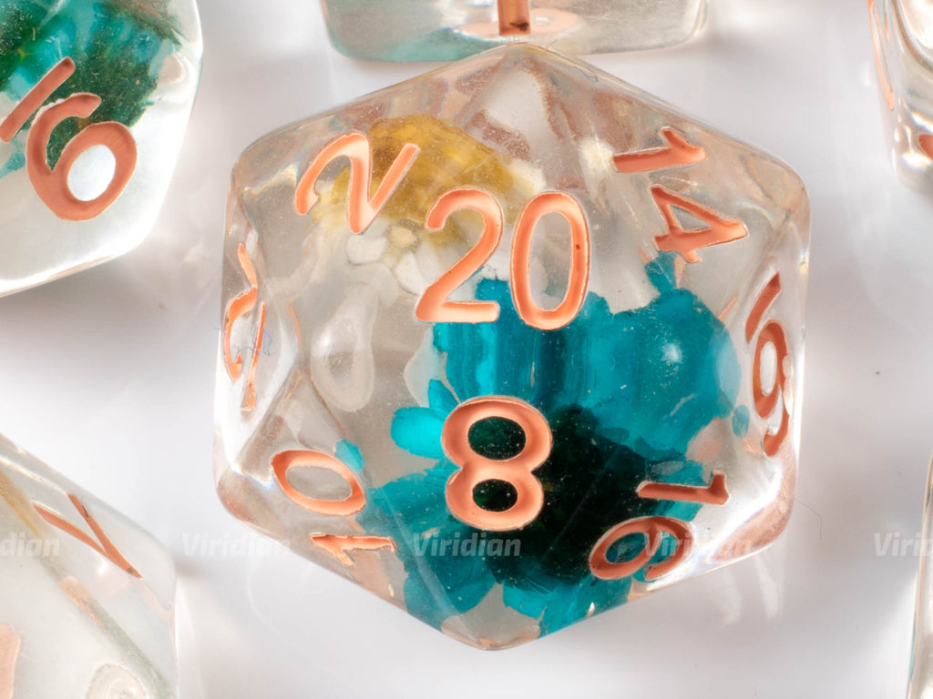 Luau | Blue and Yellow Flowers Inside Clear Resin Dice Set (7) | Dungeons and Dragons (DnD)