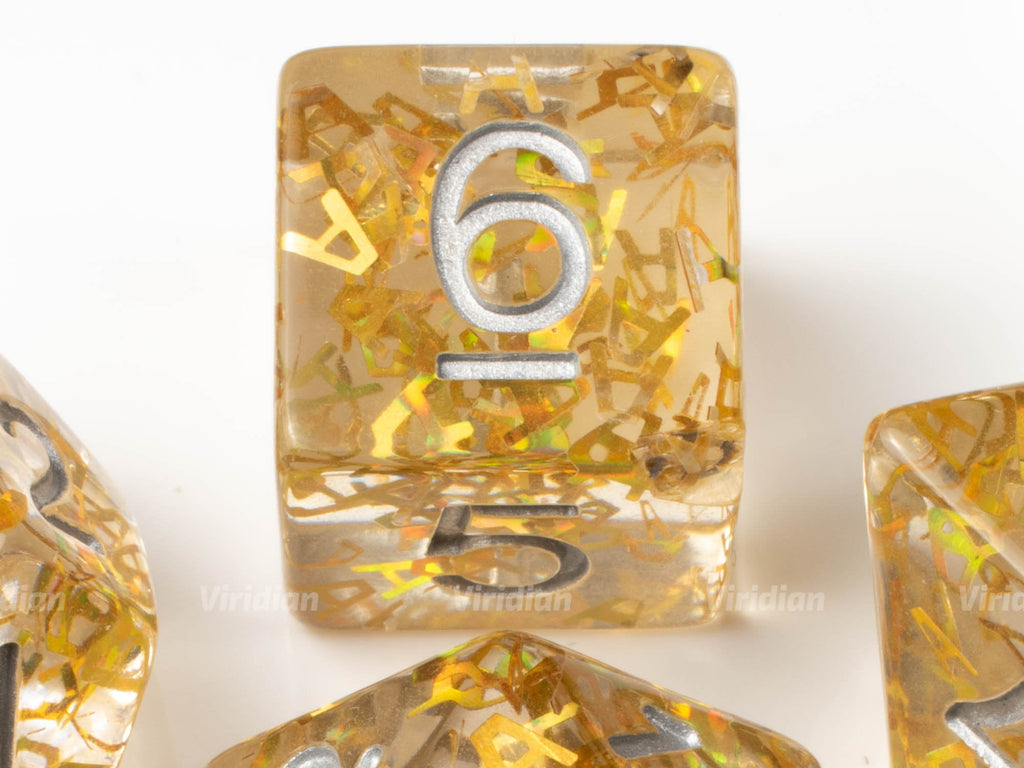 AAAAAA! | Gold Letters Inside Clear Resin Dice Set (7) | Dungeons and Dragons (DnD)