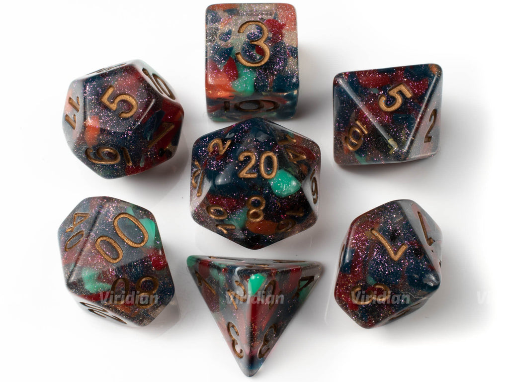 Paint Splatter | Multicolor Marbled Glittery Resin Dice Set (7) | Dungeons and Dragons (DnD)