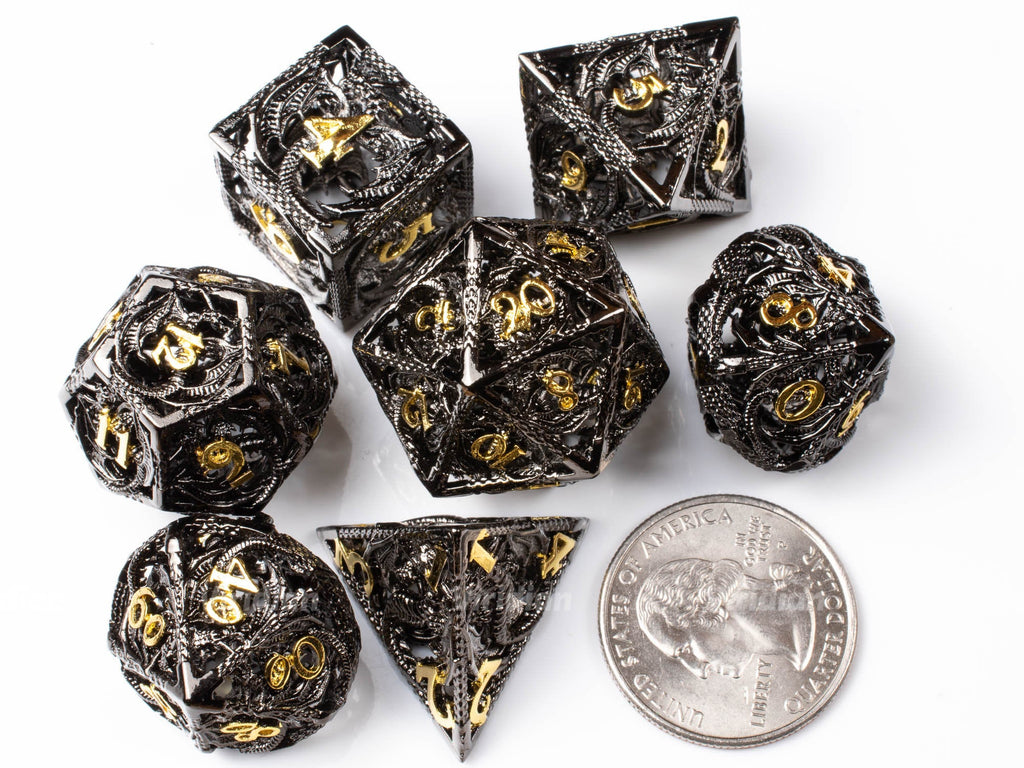 Black Hollow Dragon | Oversized Metal Dice Set (7) | Dungeons and Dragons (DnD) | Tabletop RPG Gaming