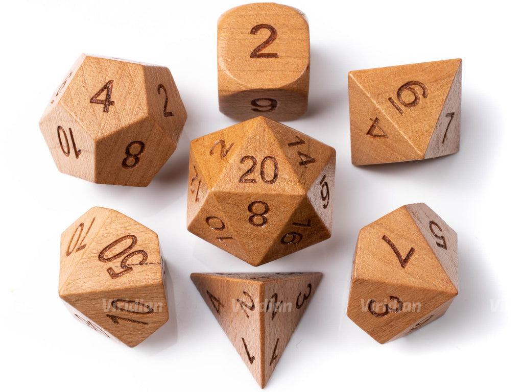 Cherry (Large Size) | Wood Dice Set (7) | Dungeons and Dragons (DnD)