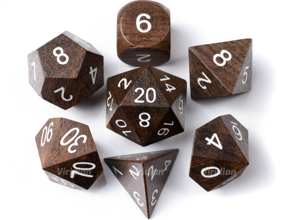 Ebony (Large Size) | Wood Dice Set (7) | Dungeons and Dragons (DnD)