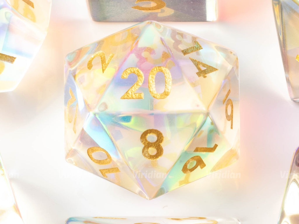 Rainbow Glass (Gold) | Real Gemstone Dice Set (7) | Dungeons and Dragons (DnD)