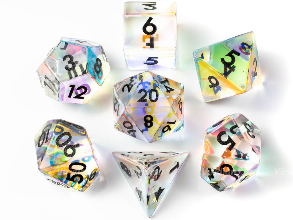 Rainbow Glass (Black) | Real Gemstone Dice Set (7) | Dungeons and Dragons (DnD)