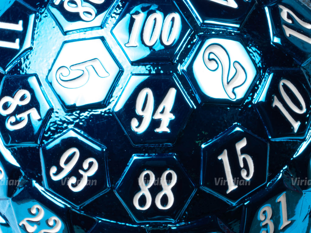 Blue & White D100 | Giant Metal Die (1) | Dungeons and Dragons (DnD) | Tabletop RPG Gaming