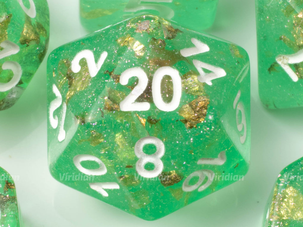 El Dorado | Green with Glitter and Gold Foil Clear Resin Dice Set (7) | Dungeons and Dragons (DnD)