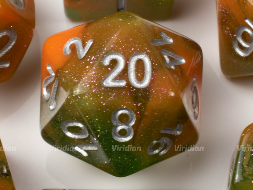 Michaelangelo | Green and Orange Swirled Glittery Resin Dice Set (7) | Dungeons and Dragons (DnD)