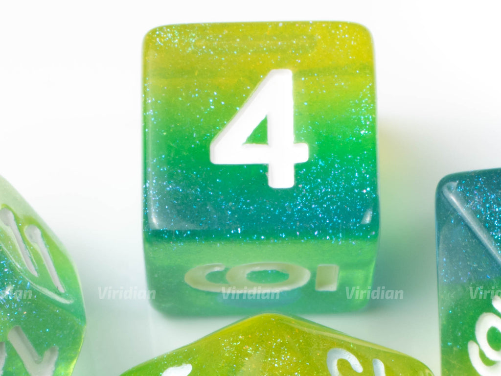 Blue Lagoon | Green, Blue and Yellow Layers with Glitter Resin Dice Set (7) | Dungeons and Dragons (DnD)