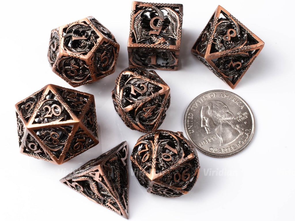 Copper Hollow Dragon | Oversized Metal Dice Set (7) | Dungeons and Dragons (DnD) | Tabletop RPG Gaming