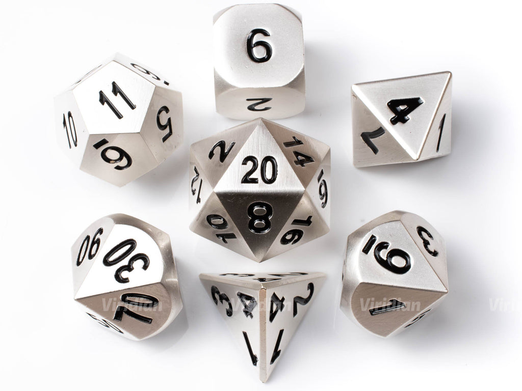 Broadsword | Matte Silver Metal Dice Set (7) | Dungeons and Dragons (DnD) | Tabletop RPG Gaming