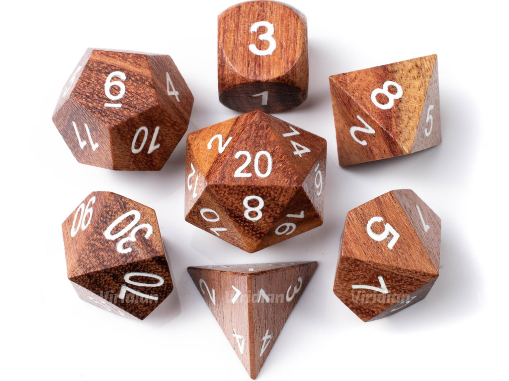 Rosewood (Large Size) | Wood Dice Set (7) | Dungeons and Dragons (DnD)
