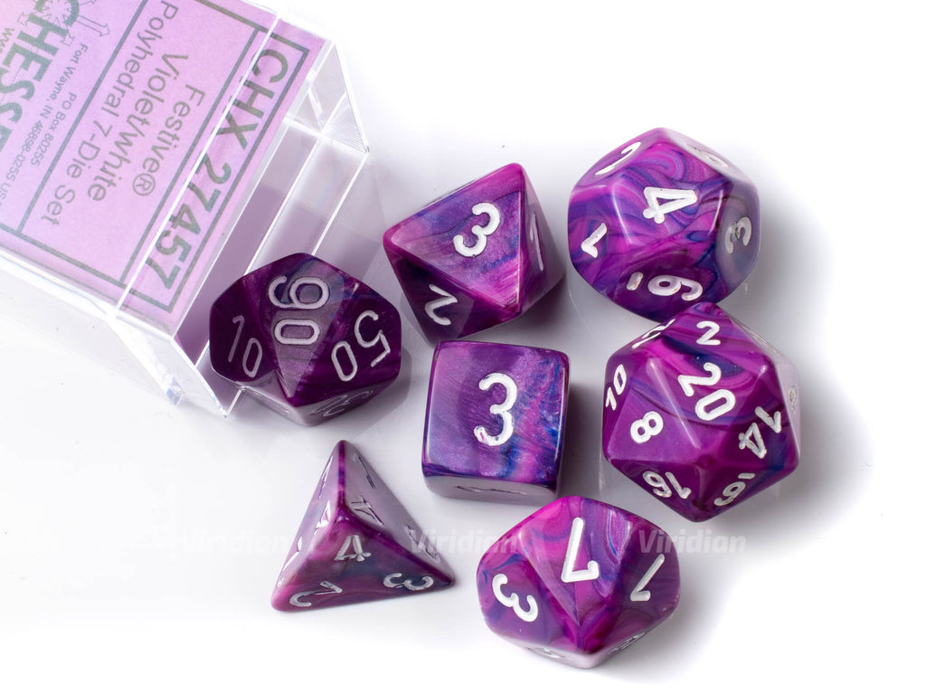 Festive Violet & White | Pink and Purple | Chessex Dice Set (7)