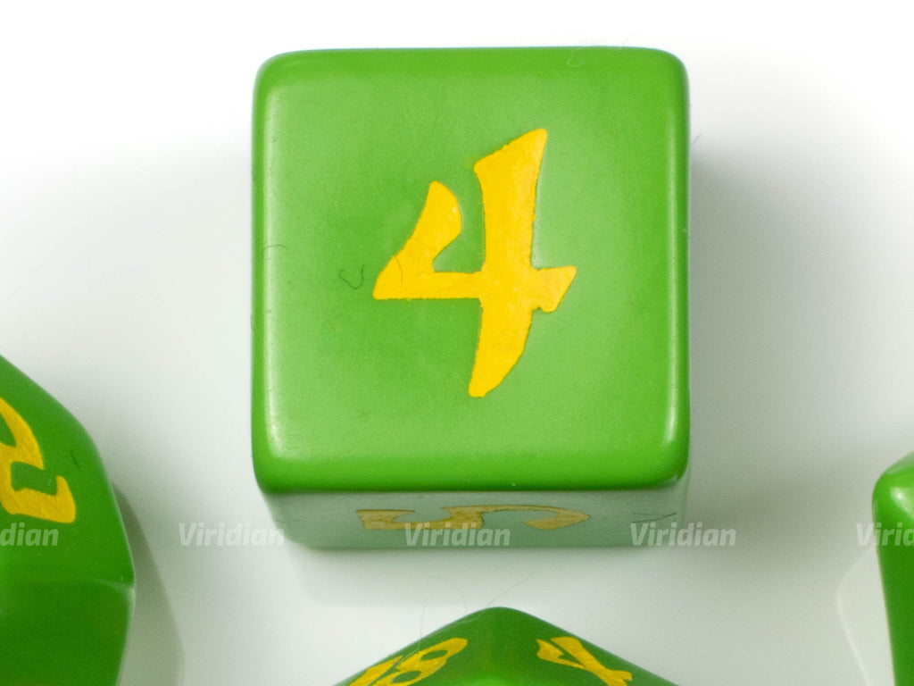 Classic Runic | Green & Yellow Dice Set (7) | Q Workshop