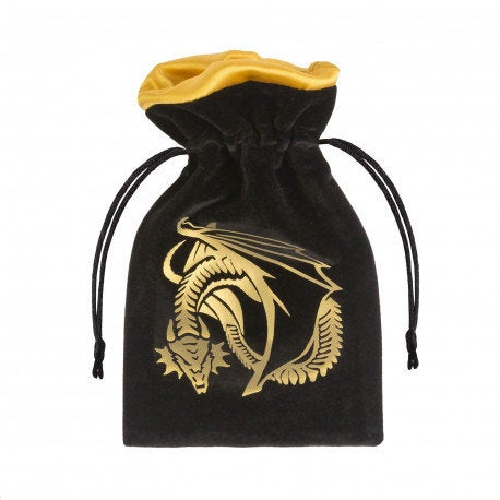 Dragon | Black & Gold Velour Dice Bag | Q Workshop