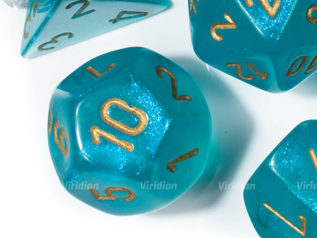 Borealis Teal & Gold Luminary | Iridescent | Chessex Dice Set (7)
