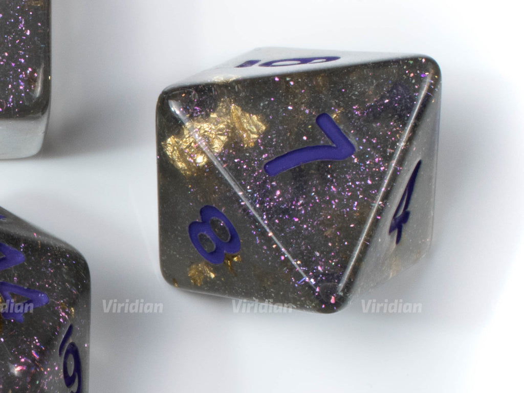Asteroid Belt | Gray with Glitter and Gold Foil Clear Resin Dice Set (7) | Dungeons and Dragons (DnD)