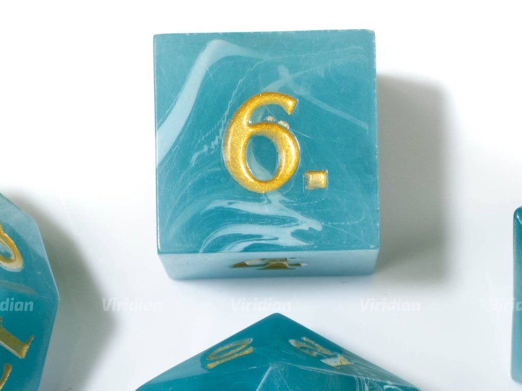 Neptune's Throne | Blue & White Sea Waves | Sharp Edge Acrylic Dice Set (7)