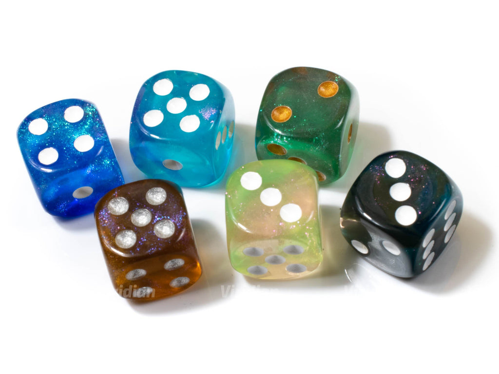 Pipped D6's | Glittery Set of (6) D6s | Green Blue Brown Applesause Teal Aqua