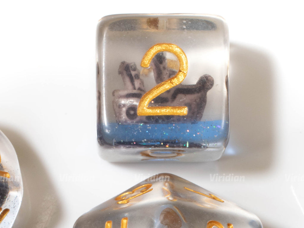 Ghostship | Blue Swirl Inside Clear Resin Dice Set (7) | Dungeons and Dragons (DnD)