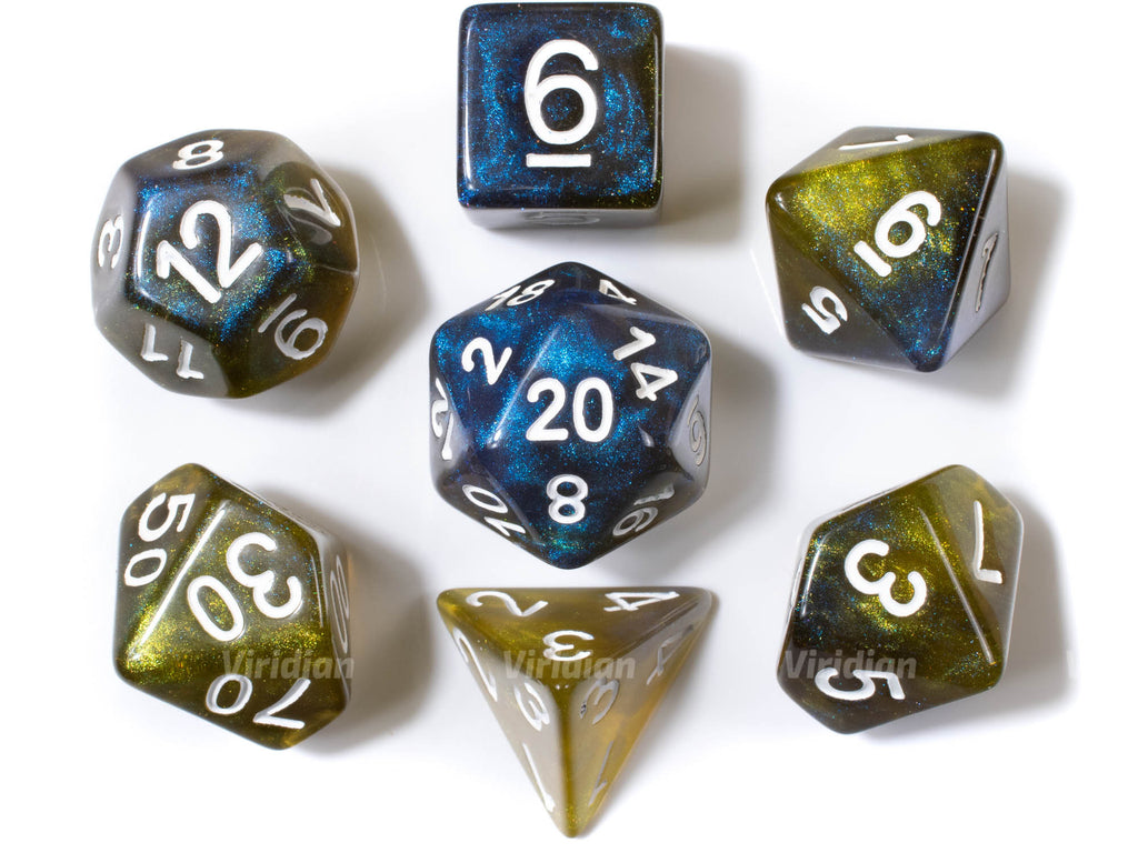 Madam Eva | Yellow, Brown and Blue Glittery Resin Dice Set (7) | Dungeons and Dragons (DnD)